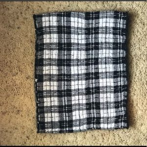 Hollister Black and white flannel print Tube top